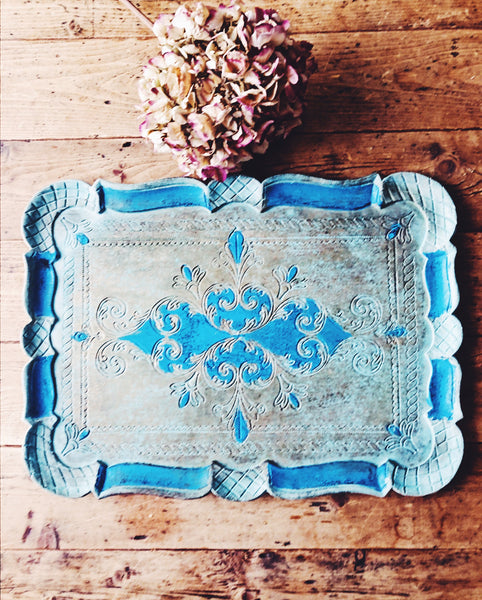 Florentine Vintage Wood Gilt Tray - Blue and Gold