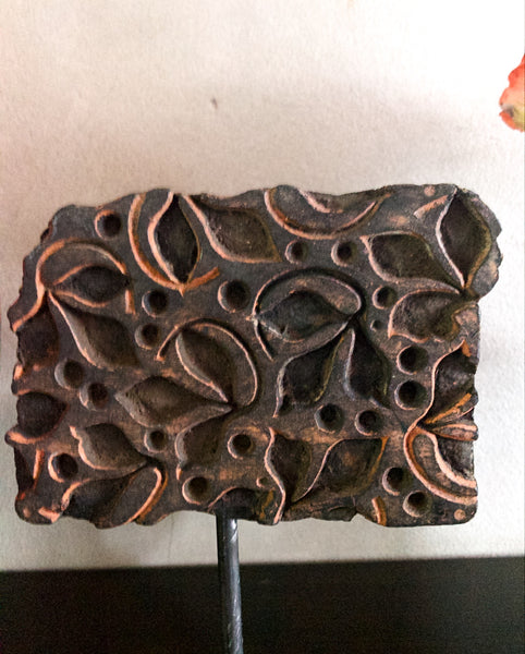 Mounted Antique Printing Block- Rectangle Design with Pink Hues
