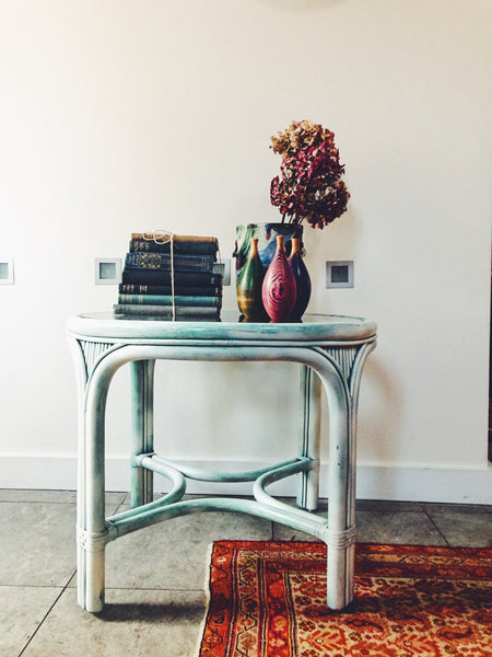 Large Vintage Painted Cane Sidetable