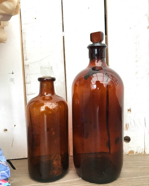 Vintage Laboratory Bottles Pair
