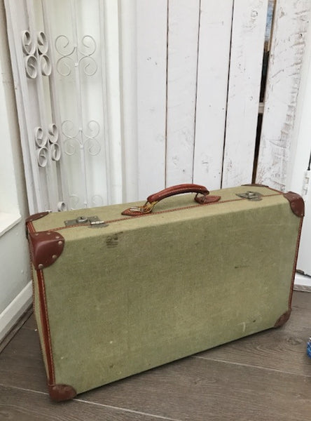 Vintage Green Canvas and Leather Suitcase