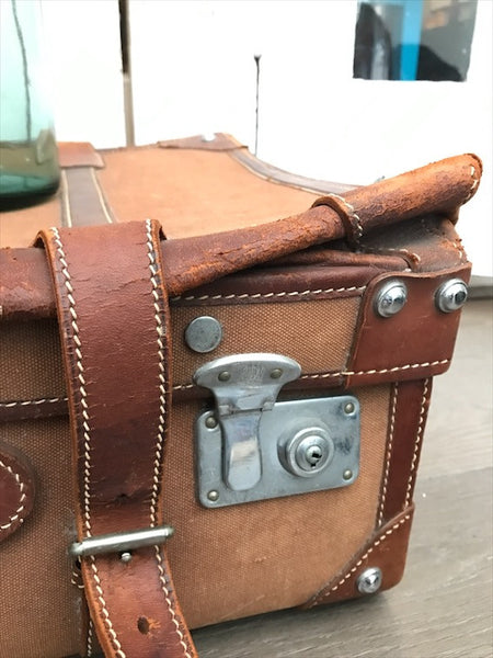 Vintage Brown Canvas and Leather Suitcase