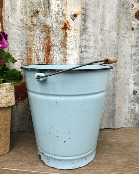 Vintage French Blue Enamel Bucket