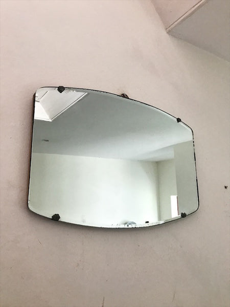 Vintage Art Deco Frameless Mirror with fan-shaped clasps