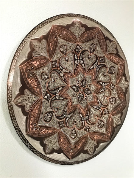 Small Etched Copper Wall Hanging Plate