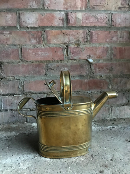 Medium Antique Brass Watering Can/Hot Water Carrier