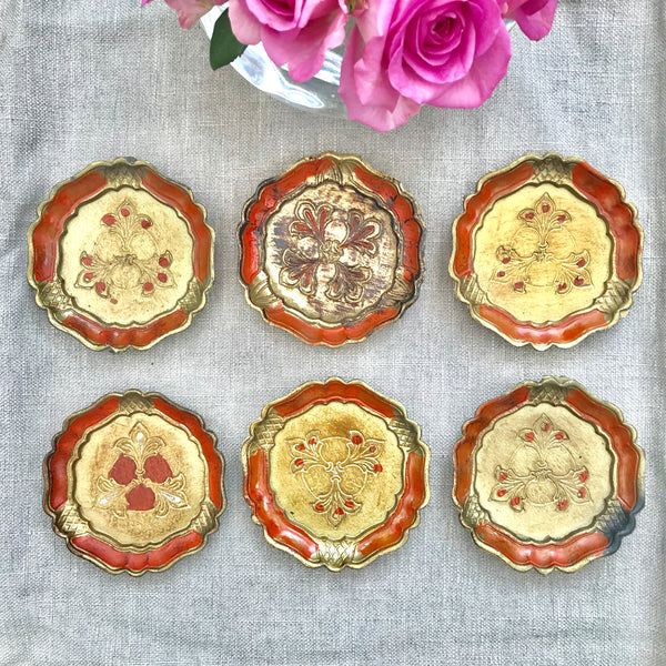 Set of Six Vintage Italian Florentine Coasters - Orange