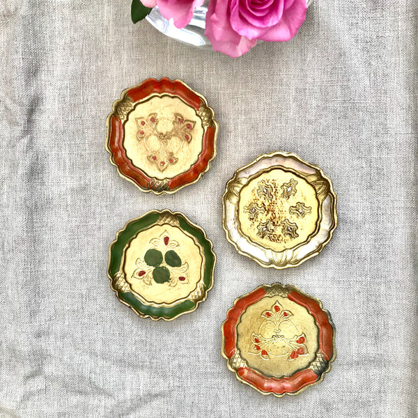 Set of Four Vintage Italian Florentine Coasters - Mixed Colours
