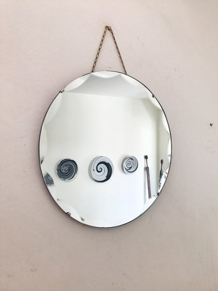 Scalloped Round  Art Deco Mirror with Long Chain