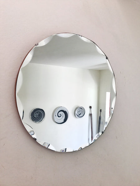 Scalloped Round Art Deco Frameless Mirror