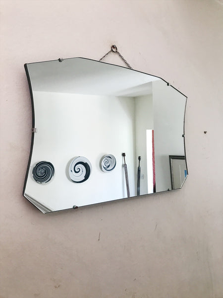 Art Deco Frameless Mirror without bevelled glass