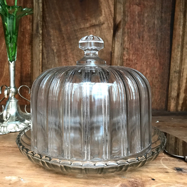 Large French Vintage Glass Dome/Cloche with Plate