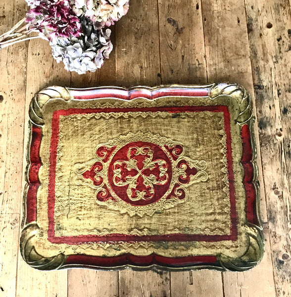 Red Florentine Vintage Wood Gilt Tray