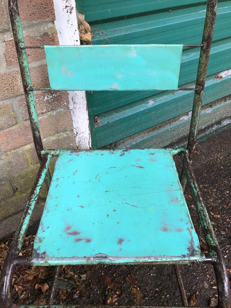 Pair of vintage metal stacking chairs - Aqua Green
