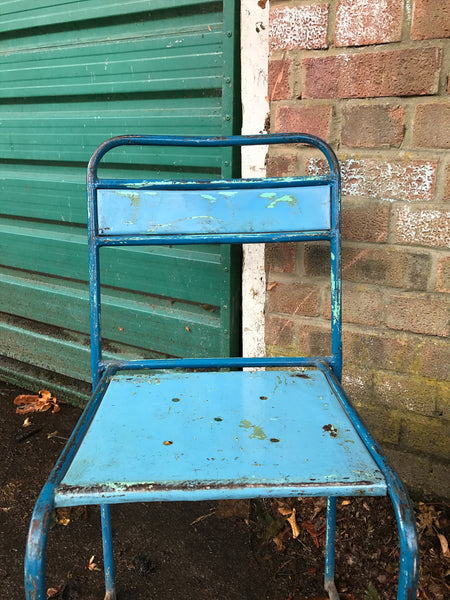 Pair of vintage metal stacking chairs - Blue & Green