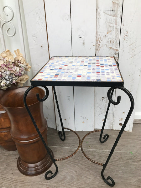 1970s Mosaic SideTable - Blue, Cream and Maroon