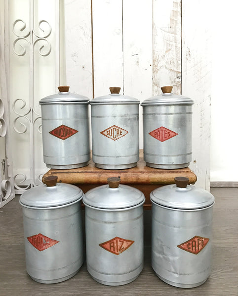 1930s  French Aluminium Canisters - set of six