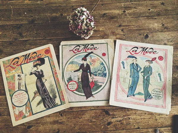 Vintage French Fashion Prints Trio