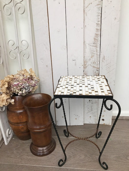 1970s Mosaic Side Table - Gold, Black and White