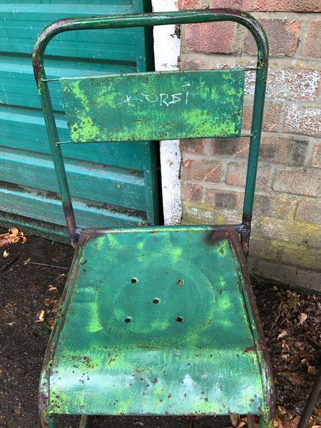 Pair of vintage metal stacking chairs - Green