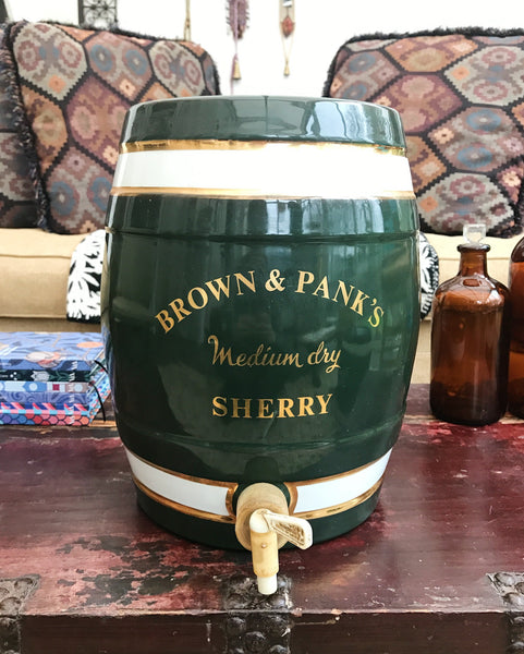 Brown and Panks Ceramic Sherry Barrel in green