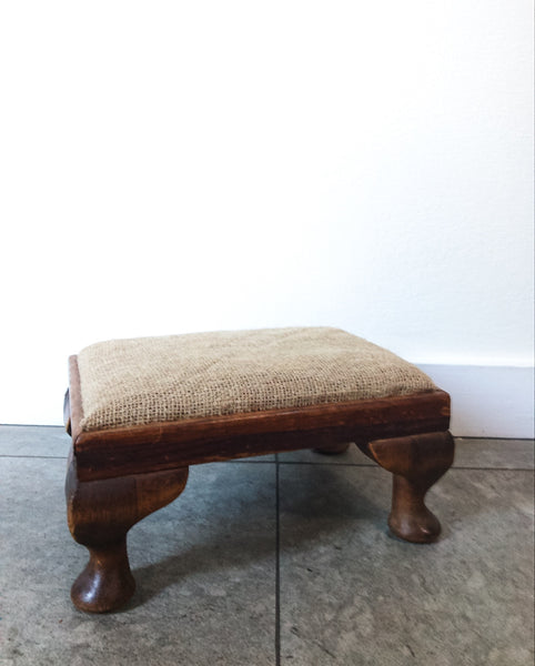 Vintage Wooden Footstool with Hessian Top