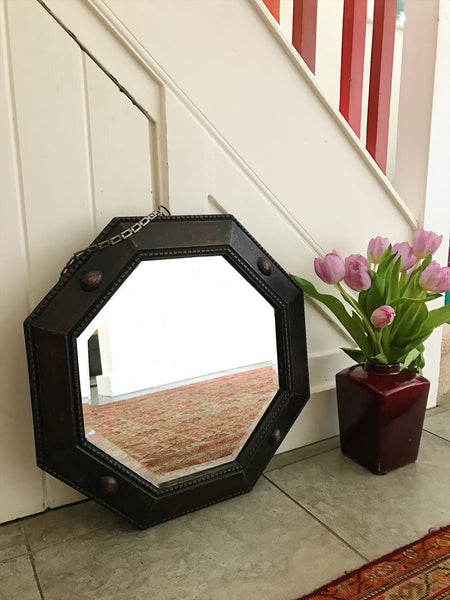 Heavy Wooden-Framed Vintage Octagonal Mirror