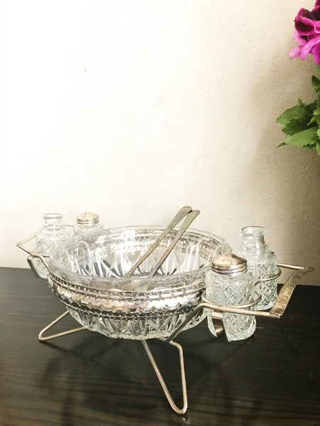 French Vintage Salad Bowl and Spoons