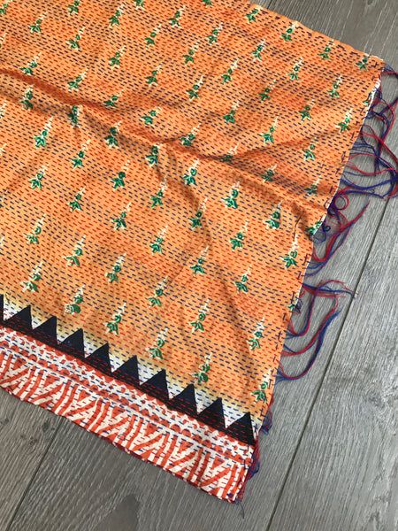 Double-Sided Sari Table Runner or Throw (Orange, Greens and Red tones)
