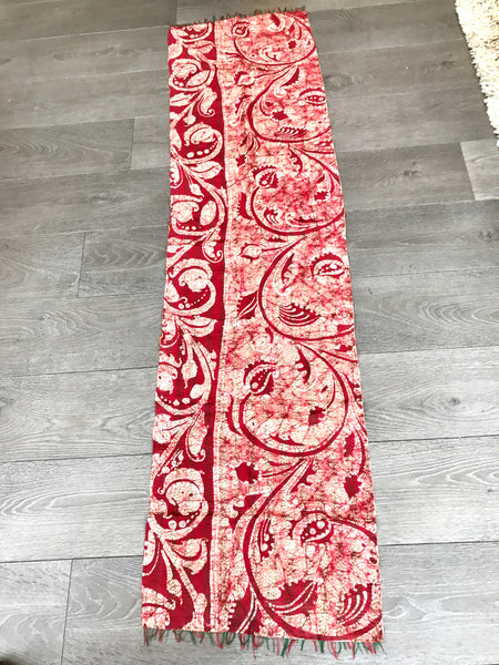 Vintage Double-Sided Sari Table Runner or Throw (Orange tones)