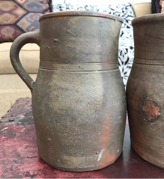 Pair of Early 1900s French Earthenware Pitchers