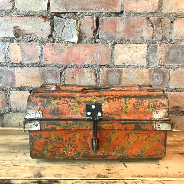 Little Tabletop Metal Indian Vintage Trunk (Orange)