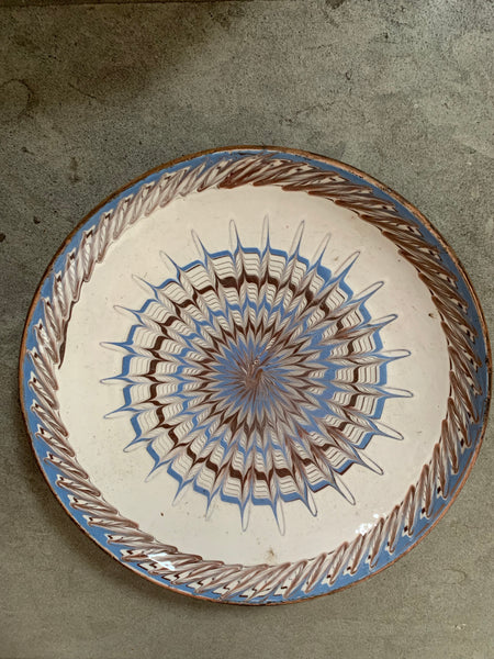Decorative Patterned Plate in blues and earthy colours