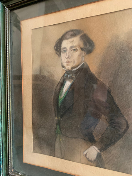 Victorian Gouache Pastel and Pencil Drawing of a Gentleman