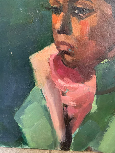 Portrait of Lady in Green and Pinks - Oil Painting on Board