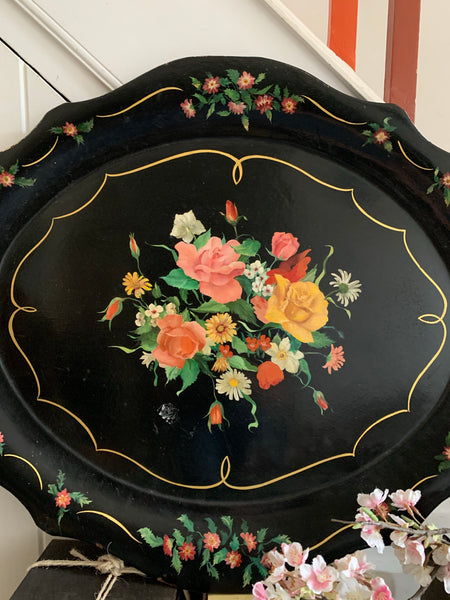 Very Large Antique Black Lacquered Tray