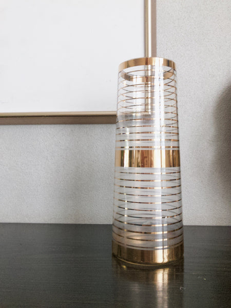 Midcentury Glass and Gold Vase