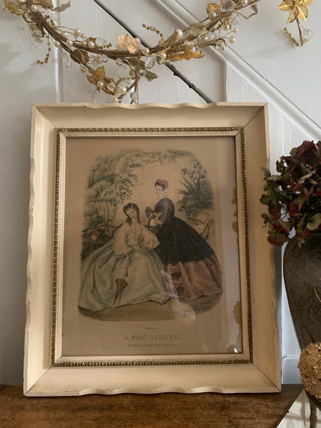 Framed Antique French Fashion Print