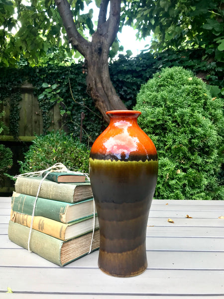 West German Vase in green and orange