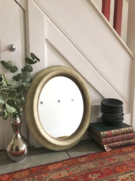 Small Oval Mirror with mottled frame and gold flecks