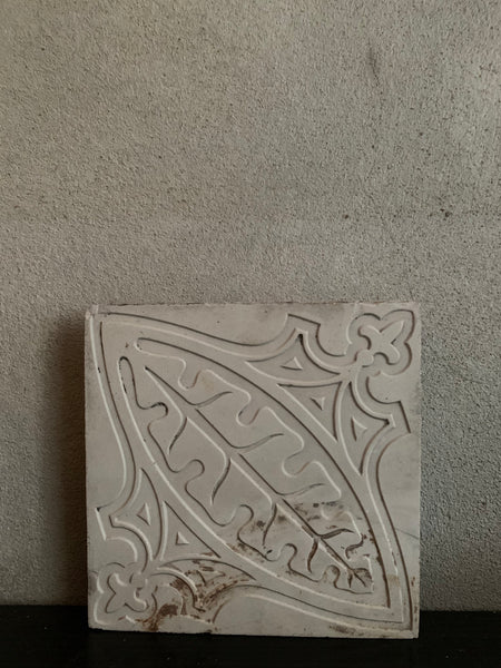 Small Reclaimed Tile with Leaf Detail