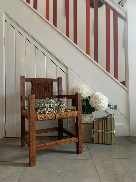 Small Vintage Woven Rush Chair