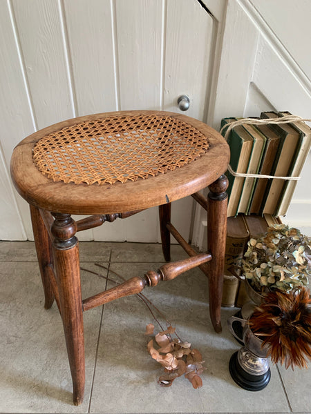 Vintage Stool with Cane Seat
