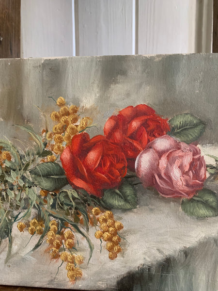 Flowers on a Table - Small Antique Oil on Canvas