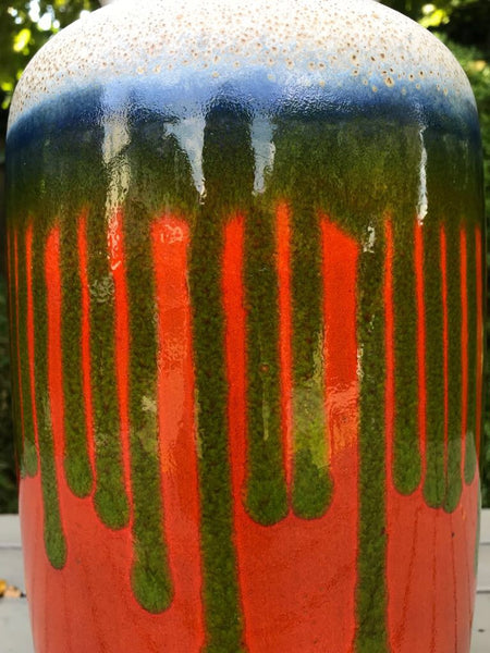 Large West German Vase in green and orange