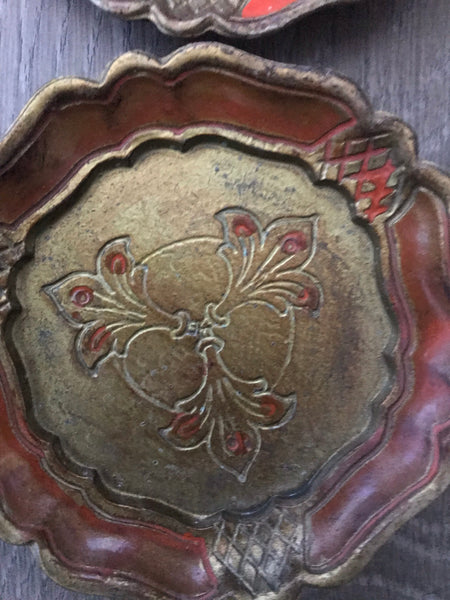 Set of Four Vintage Italian Florentine Coasters - Orange