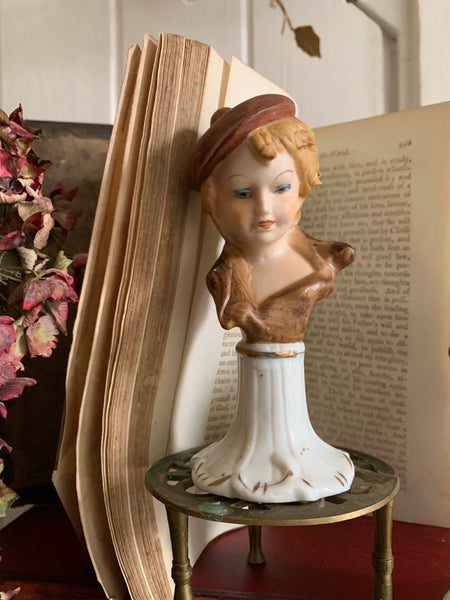 Pair of Capodimonte Porcelain Figurine Busts of a Boy & Girl