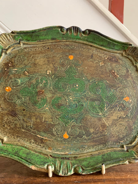 Small Green Florentine Gilt Tray