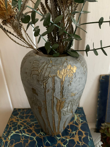 Metal Vase with Decorative Gold Detail