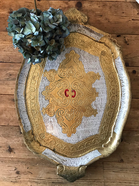 Large White and Gold Florentine Wood Gilt Tray